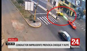 Trujillo: sujeto causa accidente al pasarse luz roja del semáforo y luego se da a la fuga