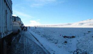 Intensa nevada obligó al cierre de la Carretera Central en el sector de Ticlio