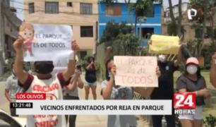 Los Olivos: vecinos protestan por enrejado de parque