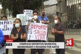 Comas: vecinos protestan por estado de abandono de local deportivo municipal