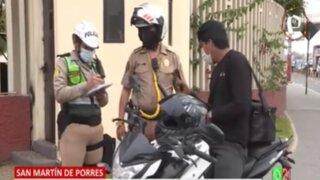 Por invadir ciclovías: Multan con 344 soles a motociclistas en San Martín de Porres