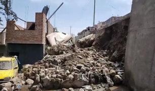 Derrumbe de muro de contención estuvo a punto de causar una tragedia en Arequipa