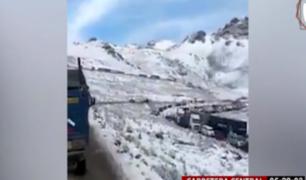 Carretera Central: tránsito se restableció tras bloqueo por nevadas
