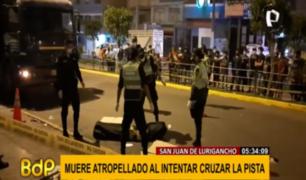 SJL: hombre murió atropellado a intentar cruzar pista en Av. Mariátegui