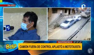 Independencia: camión fuera de control embiste mototaxi y auto estacionado