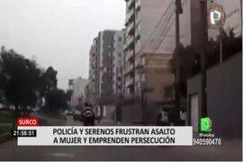 Surco: Policía y serenos frustran asalto a mujer por parte de ladrones en moto