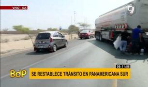 Ica: vehículos empiezan a pasar Panamericana Sur con protección policial
