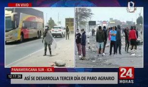 Paro agrario: PNP logró control absoluto del kilómetro 290 de la Panamericana Sur