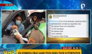 Cercado de Lima: PNP controla tránsito de vehículos por fiestas