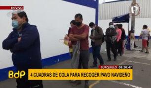 Surquillo: ciudadanos forman largas colas para recoger pavo navideño