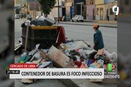 Cercado de Lima: vecinos denuncian que contenedor de basura para lleno las 24 horas