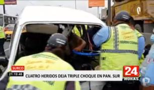 Surco: cuatro heridos deja triple choque en la Panamericana Sur