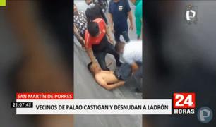 ¡Hartos de la delincuencia! Vecinos golpean y desnudan a ladrón en plena Panamericana Norte