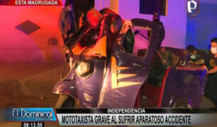 Independencia: mototaxista grave tras sufrir aparatoso accidente