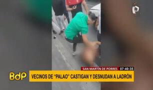 SMP: golpean y desnudan a presunto delincuente en la Panamericana Norte