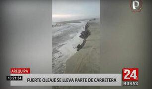 Fuerte oleaje del mar se lleva parte de la carretera en Arequipa