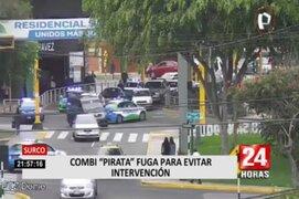 Surco: combi 'Pirata' fugó par evitar ser intervenido