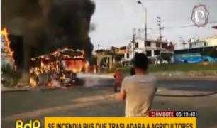 Chimbote: bus que trasladaba trabajadores agrícolas ardió en llamas