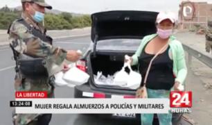 La Libertad: mujer regala almuerzos a policías y militares