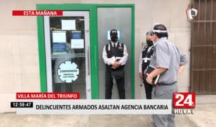 VMT: delincuentes armados asaltan local de conocido banco