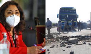 Violeta Bermúdez lamenta muerte de dos jóvenes durante las protestas en La Libertad