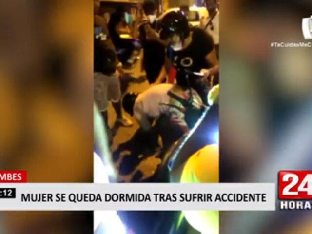 Tumbes: mujer se quedó dormida luego de sufrir accidente