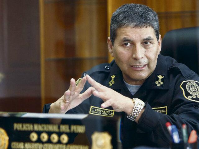 Jefe de la PNP, César Cervantes: descarto toda posibilidad de una huelga policial