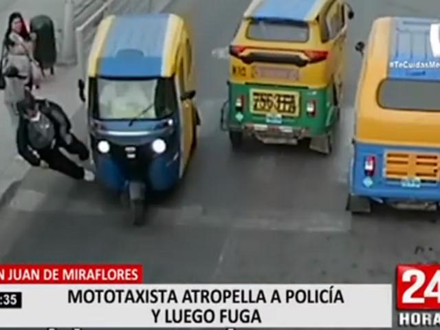 San Juan de Miraflores: mototaxista atropella a policía y luego fuga