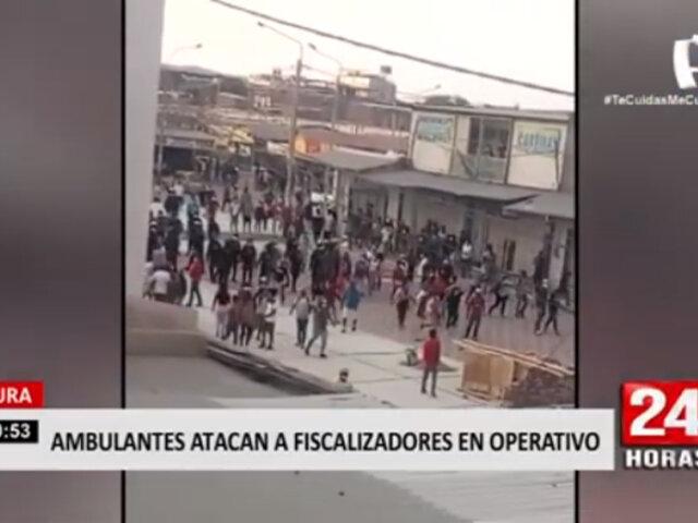 Piura: ambulantes se enfrentan a fiscalizadores durante operativo