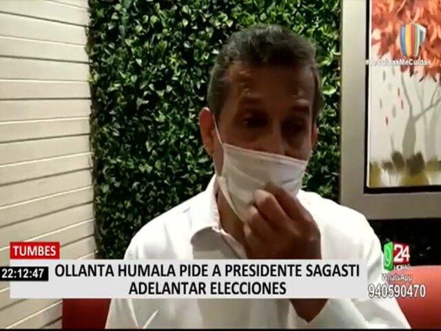 Ollanta Humala solicita a presidente Sagasti adelanto de las elecciones