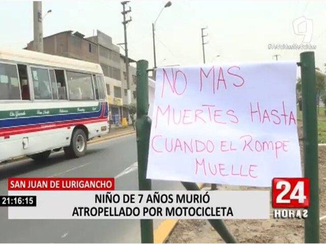 SJL: vecinos exigen rompemuelle en avenida Wiesse