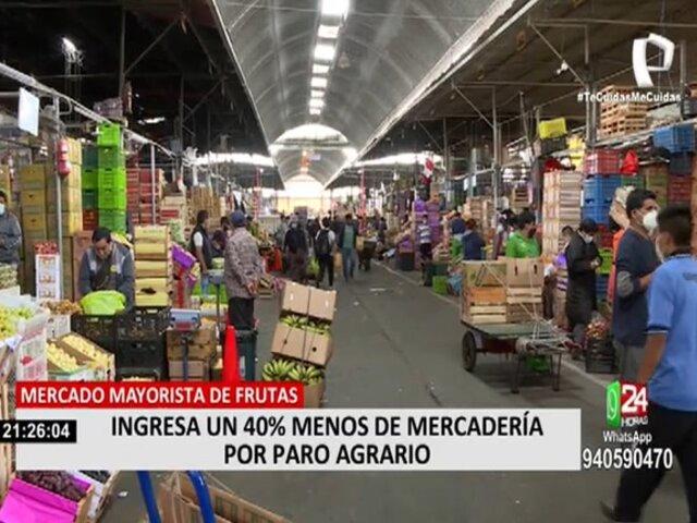 Bloqueo de carreteras redujo ingreso de productos al Mercado de Frutas