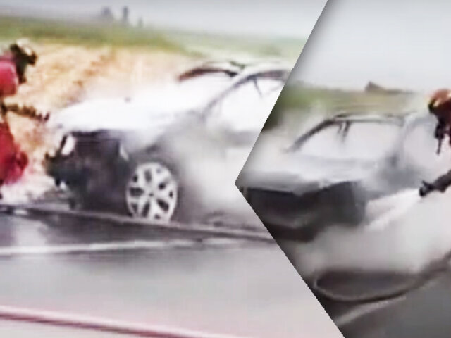 Auto se incendia en la Panamericana Sur