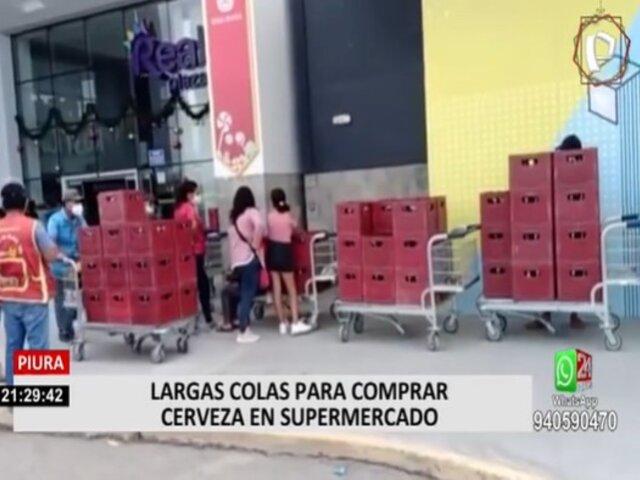 Piura: Largas colas para comprar cerveza en supermercado