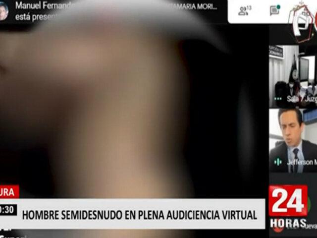 ¡INSÓLITO! video de hombre semidesnudo se filtra en audiencia virtual de la Corte Superior