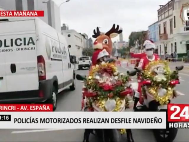 Cercado de Lima: policías motorizados realizan desfile navideño