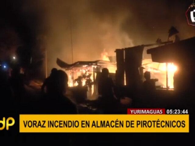 Yurimaguas: dos viviendas que almacenaban pirotécnicos quedaron en cenizas por incendio