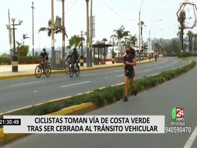 Ciclistas tomaron la Costa Verde aprovechando restricción vehicular por Navidad