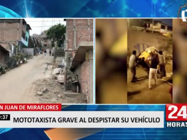 San Juan de Miraflores: mototaxista grave al despistar su vehículo