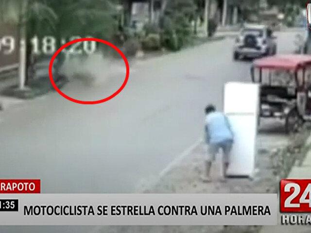 Motociclista imprudente impacta con una palmera por exceso de velocidad