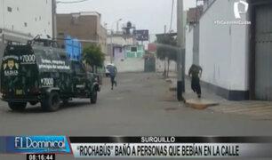Surquillo: Rochabús arrojó agua a personas que bebían licor en la vía pública