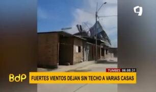 Tumbes: Fuertes vientos dejaron sin techo varias viviendas