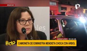 Miraflores: camioneta de la exministra Mendieta chocó contra árbol