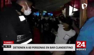 Tumbes: PNP detuvo a más de 60 personas en bar clandestino