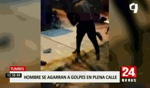 Tumbes: sujetos pelearon en la calle por amor de venezolana