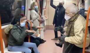 Metro de Madrid fue escenario de una bochornosa pelea por mal uso de mascarilla