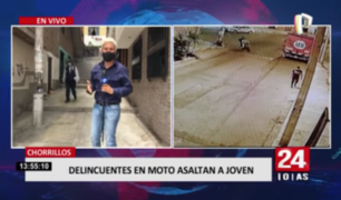 Chorrillos: delincuentes en moto asaltan a joven