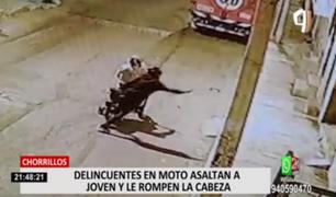 Chorrillos: delincuentes en moto asaltan a joven y le rompen la cabeza