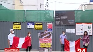 Magdalena: Vecinos protestan por la reanudación de edificio de 9 pisos
