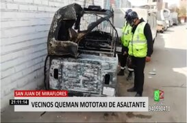 SJM: vecinos queman mototaxi que habría sido utilizada para robar
